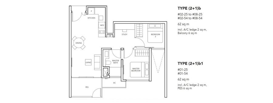New Launch 2 Bedroom+Study Floor Plan
